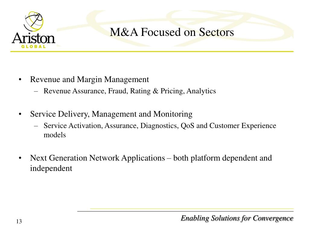 M&A Focused on Sectors
