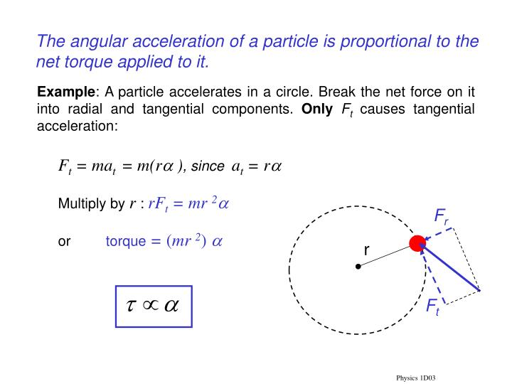 The angular acceleration of a particle is proportional to the net torque applied to it.