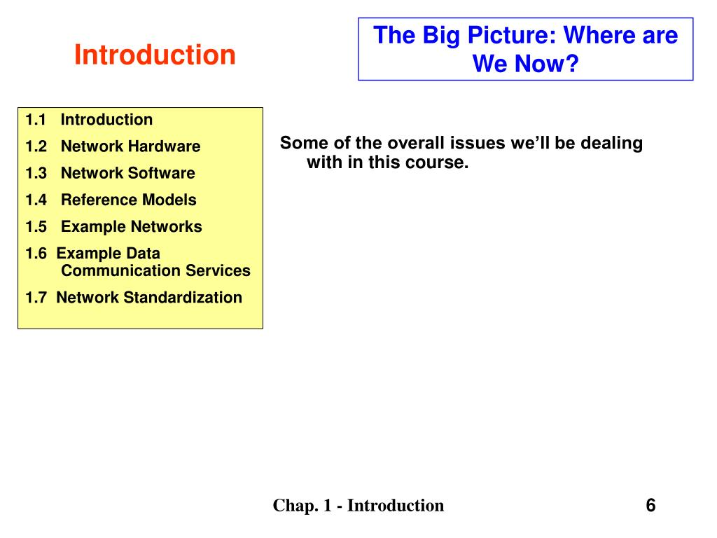 The Big Picture: Where are We Now?