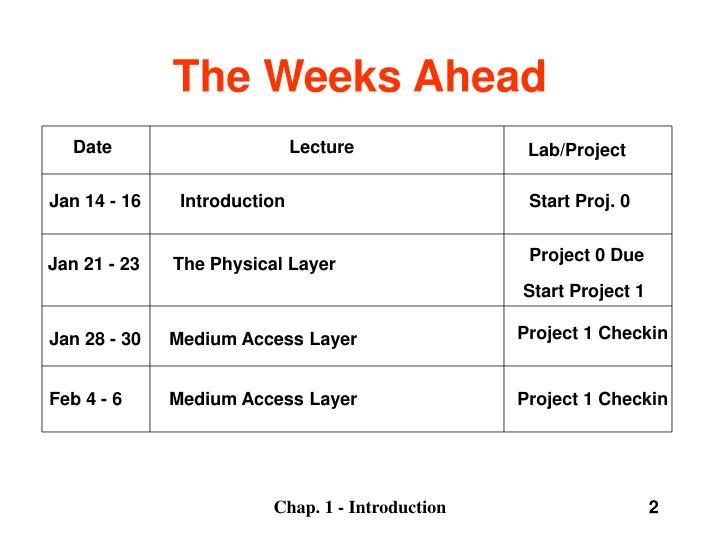 The weeks ahead