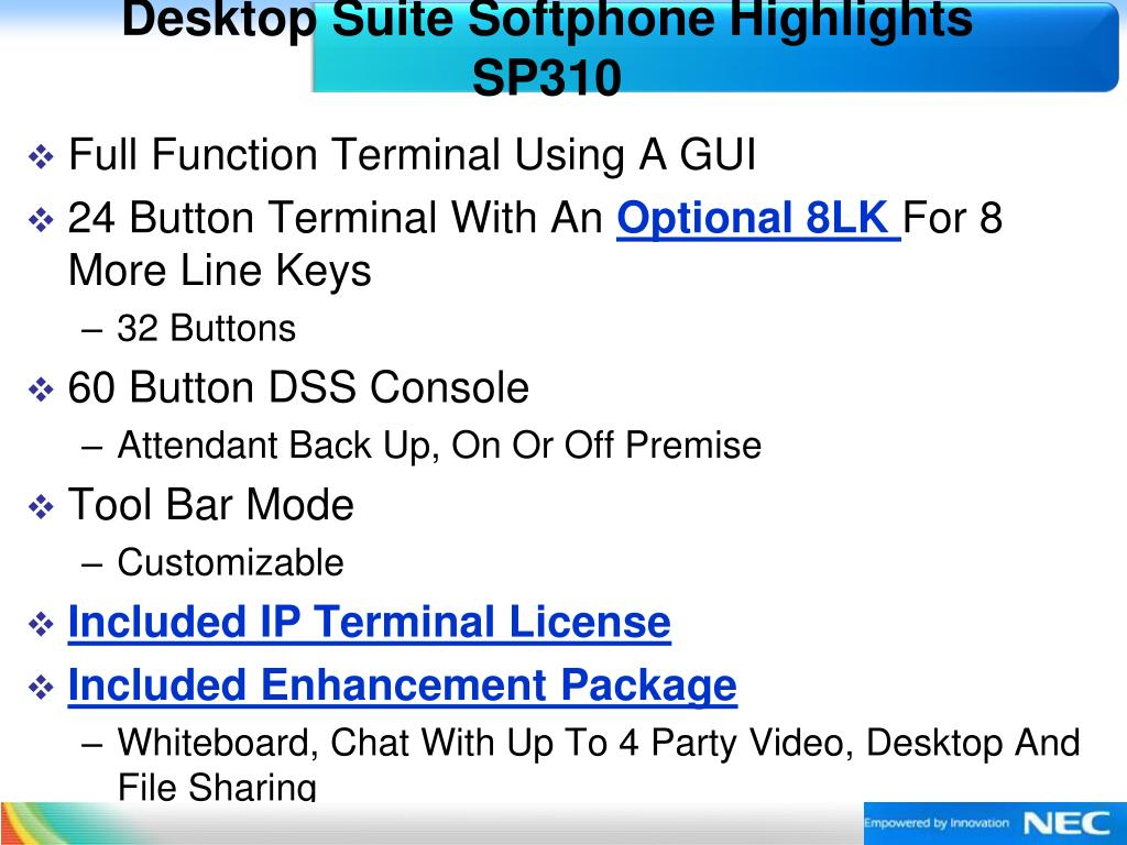 Desktop Suite Softphone Highlights  SP310