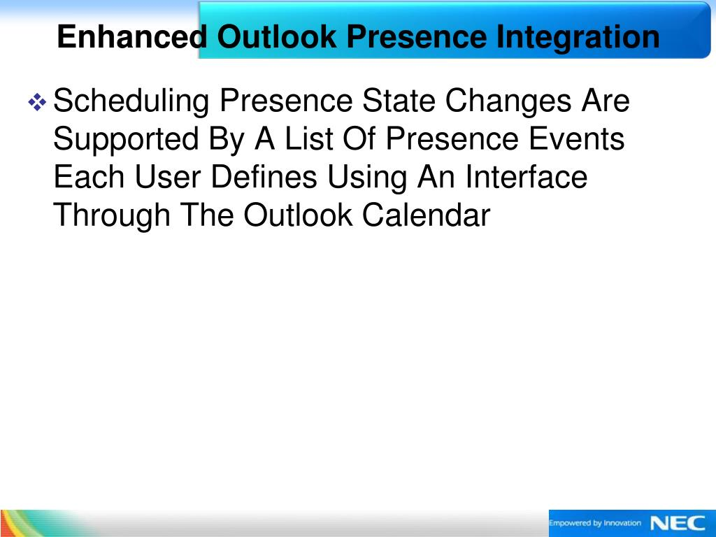 Enhanced Outlook Presence Integration