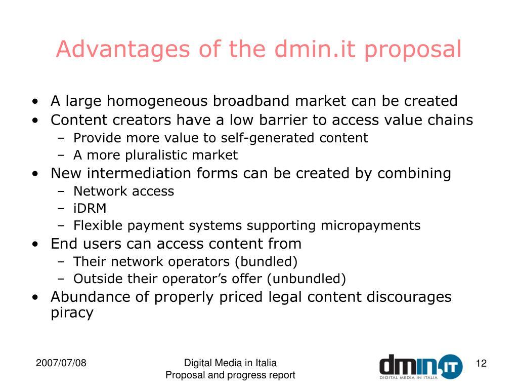 Advantages of the dmin.it proposal