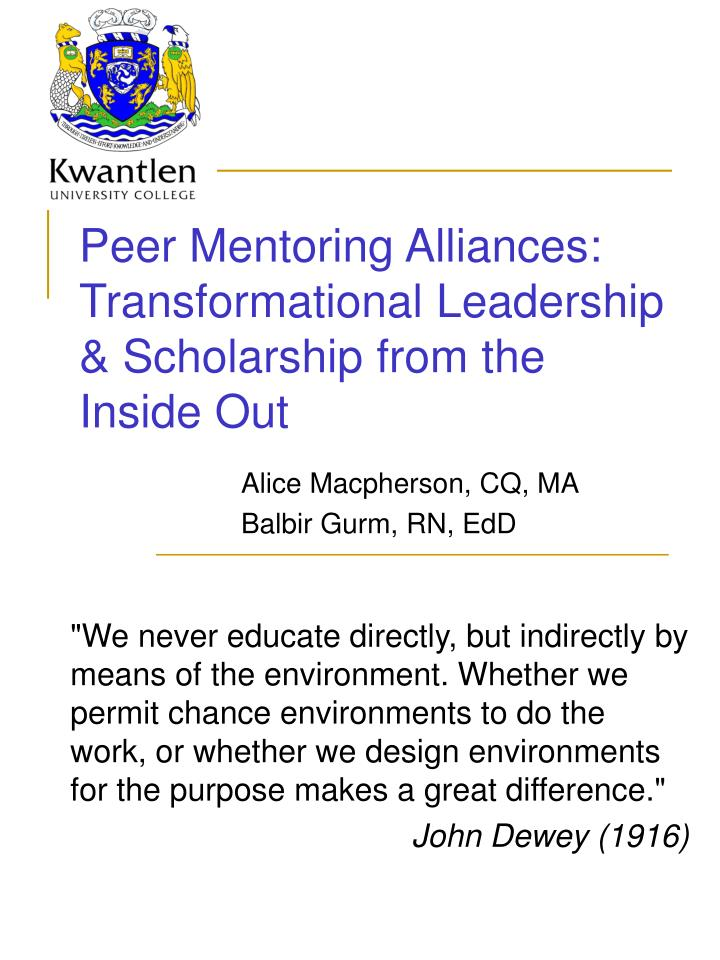 peer mentoring alliances transformational leadership scholarship from the inside out n.