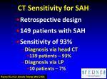 ct sensitivity for sah