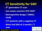 ct sensitivity for sah1