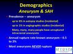 demographics aneurysm sah