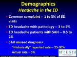 demographics headache in the ed
