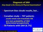diagnosis of sah how good is the history physical examination