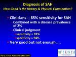 diagnosis of sah how good is the history physical examination1