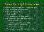 routes for drug administration