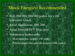 shock energies recommended