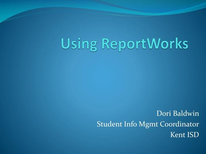 using reportworks n.
