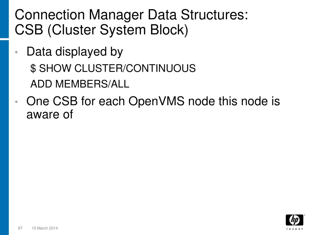 Connection Manager Data Structures:
