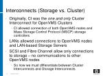 interconnects storage vs cluster