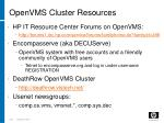 openvms cluster resources201