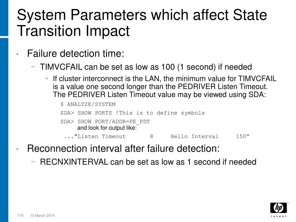 System Parameters which affect State Transition Impact