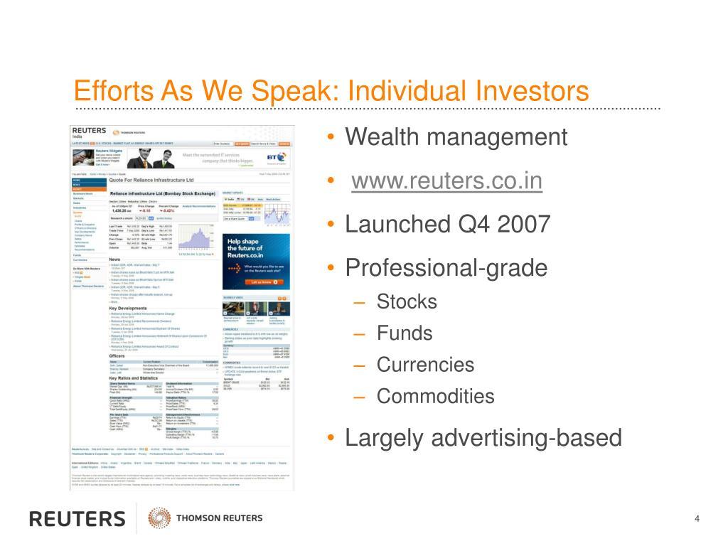 Efforts As We Speak: Individual Investors