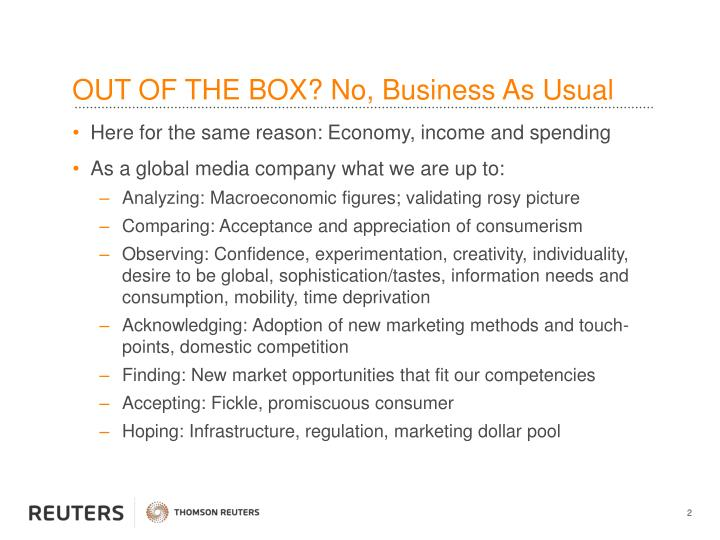 Out of the box no business as usual