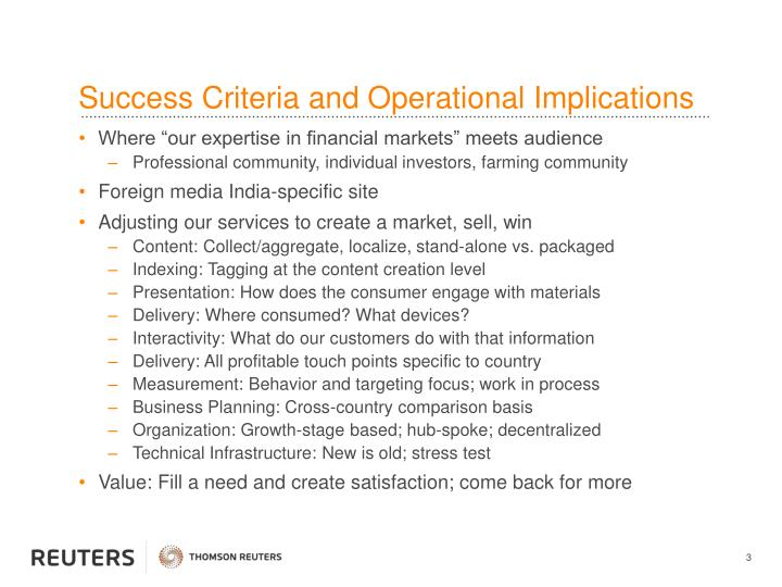 Success criteria and operational implications