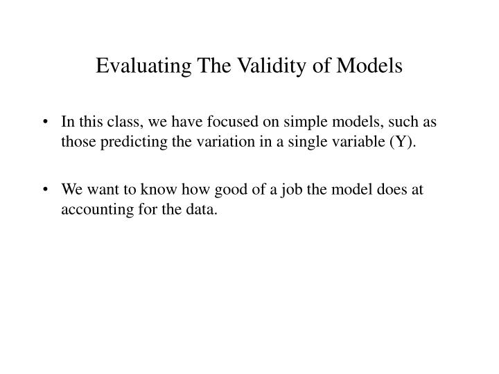 evaluating the validity of models n.