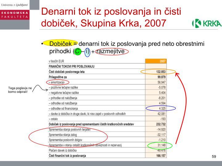 Denarni tok iz poslovanja in čisti dobiček, Skupina Krka, 2007