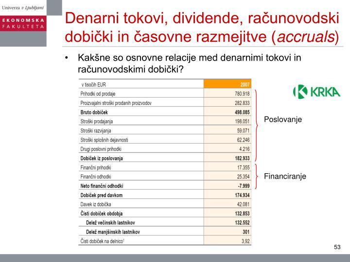 Denarni tokovi, dividende, računovodski dobički in časovne razmejitve (