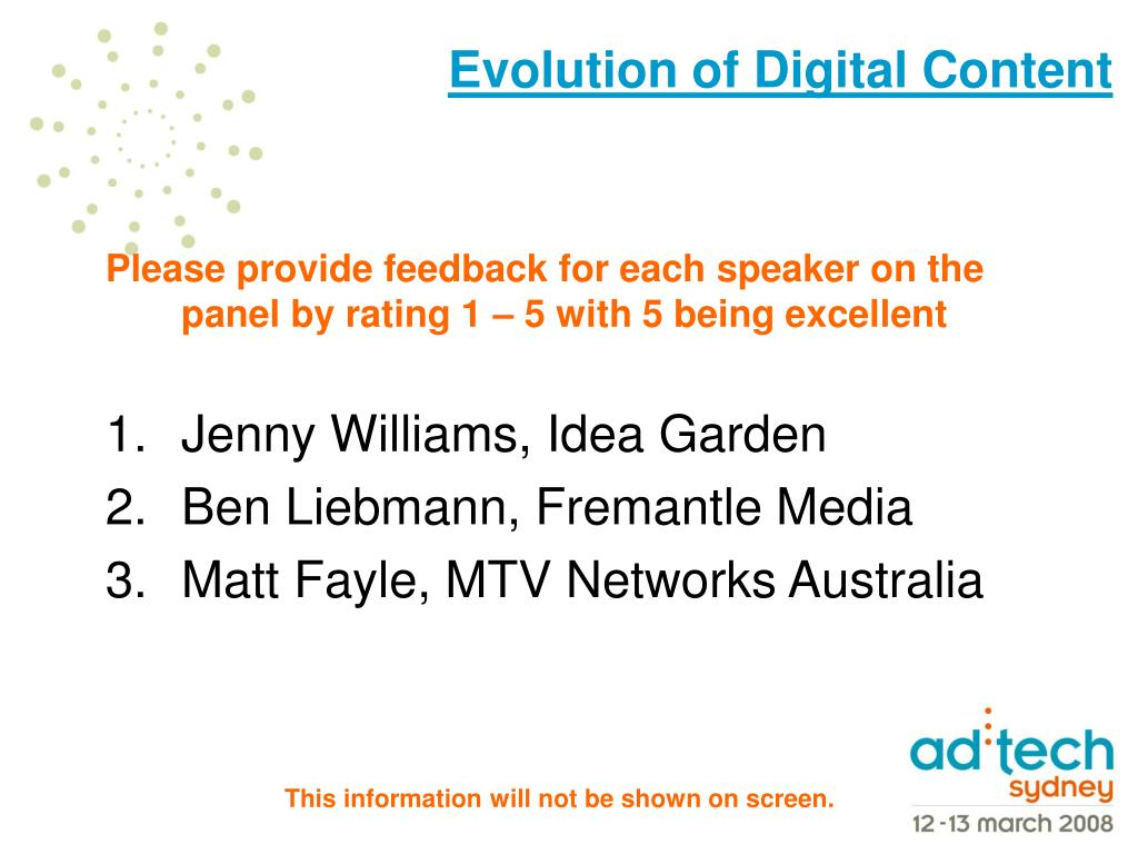 Please provide feedback for each speaker on the panel by rating 1 – 5 with 5 being excellent