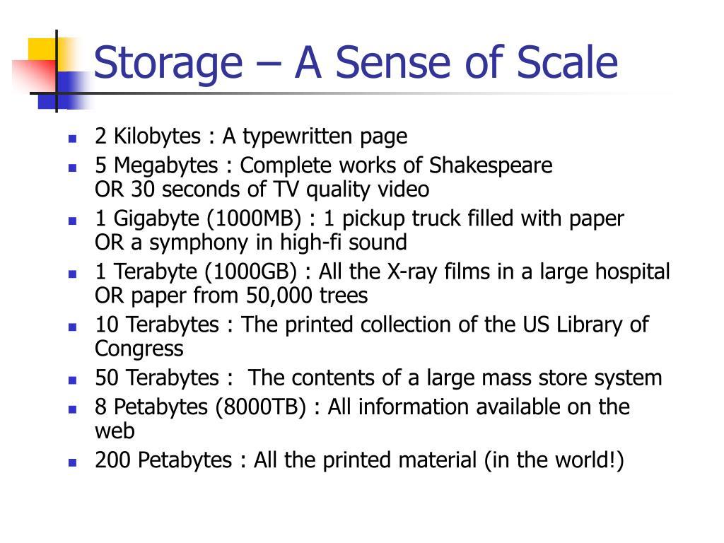Storage – A Sense of Scale