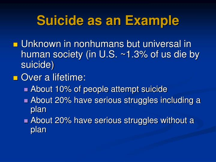 Suicide as an Example