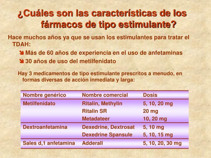 ¿Cuáles son las características de los fármacos de tipo estimulante?