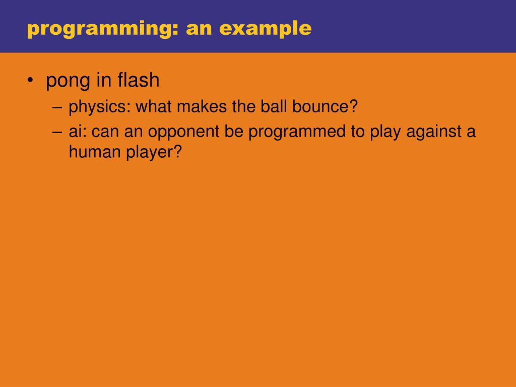 programming: an example
