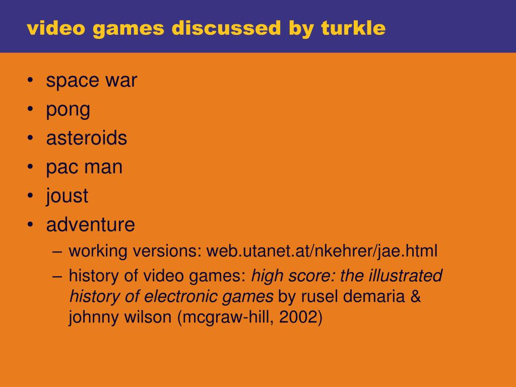 video games discussed by turkle