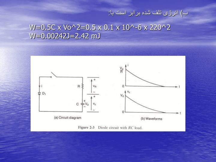 ب) انرژی تلف شده برابر است با:
