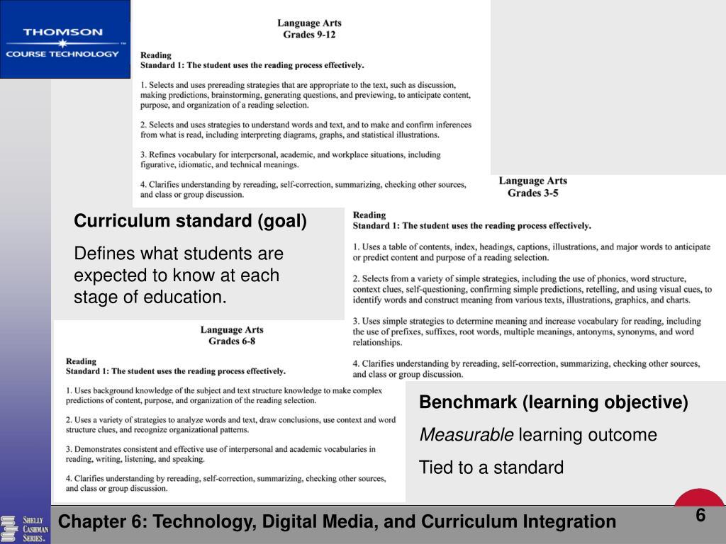 Curriculum standard (goal)