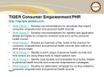 tiger consumer empowerment phr http tigerphr pbwiki com