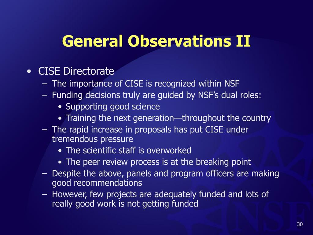 General Observations II