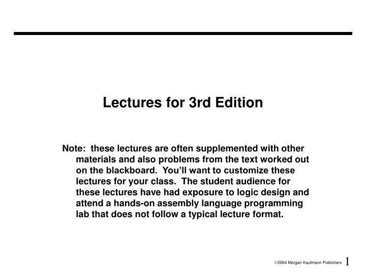 lectures for 3rd edition n.