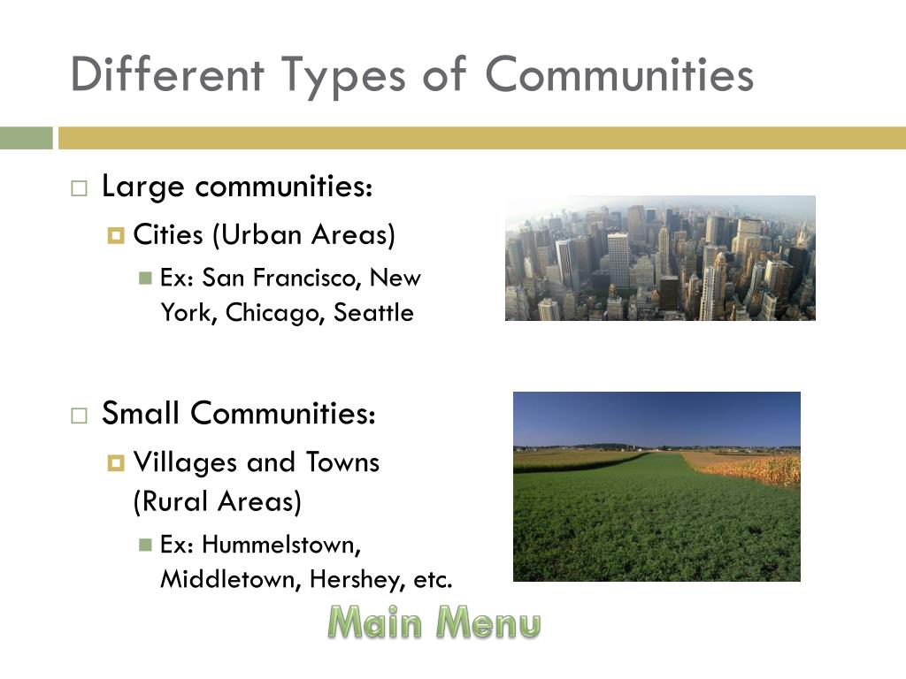 Different Types of Communities