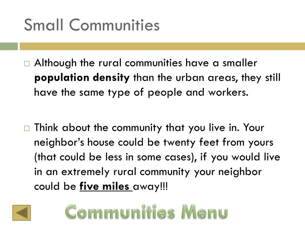 Small Communities
