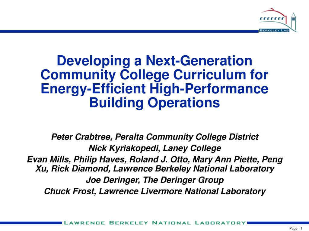 Developing a Next-Generation Community College Curriculum for Energy-Efficient High-Performance Building Operations