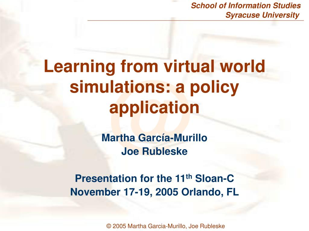 learning from virtual world simulations a policy application l.
