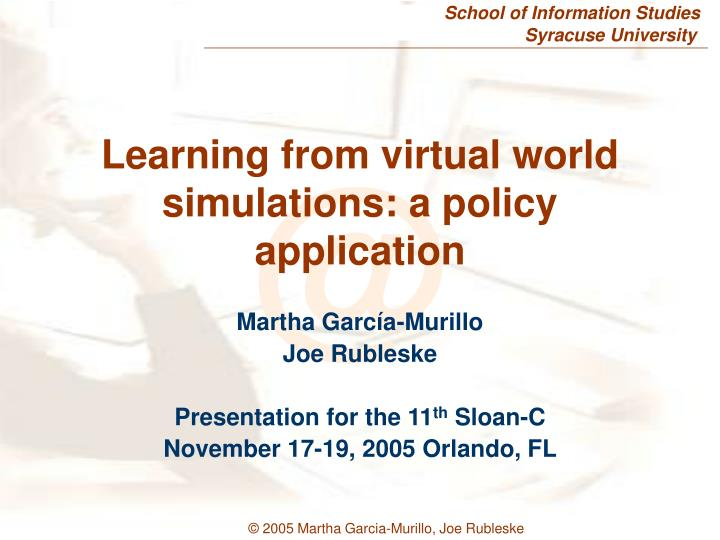 learning from virtual world simulations a policy application n.