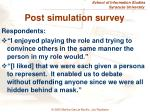 post simulation survey