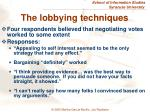 the lobbying techniques