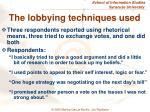 the lobbying techniques used