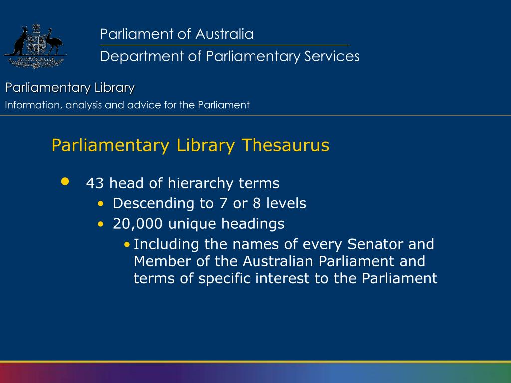 Parliamentary Library Thesaurus