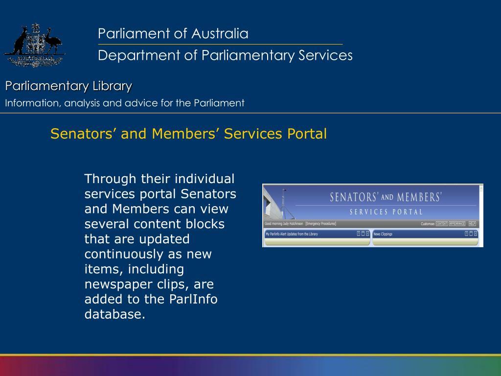 Senators' and Members' Services Portal