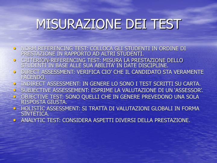 Misurazione dei test