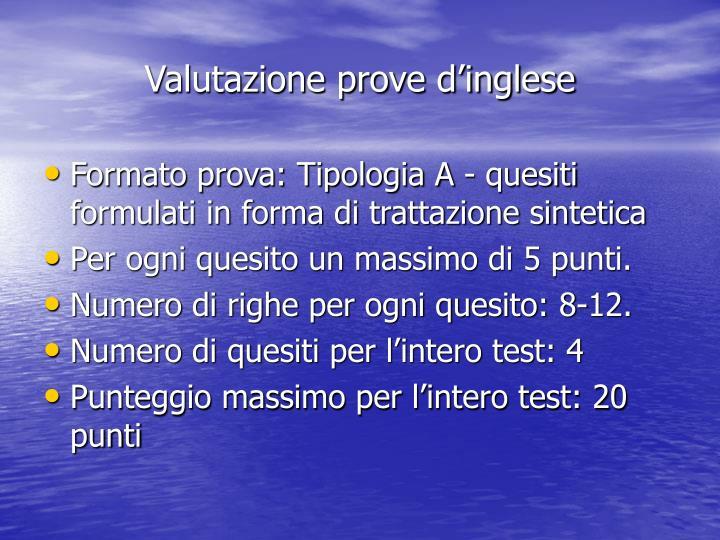 Valutazione prove d'inglese